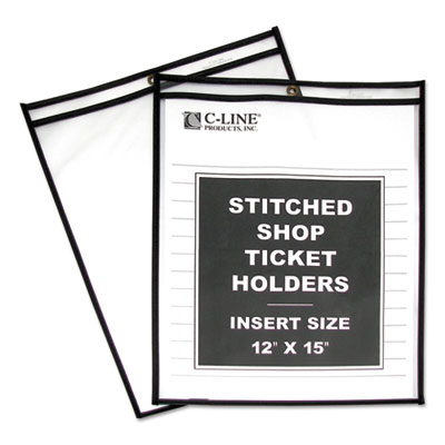 "Shop ticket holders, stitched, both sides clear, 75"", 12 x 15, 25/bx, sold as 1 box, 25 each per box"