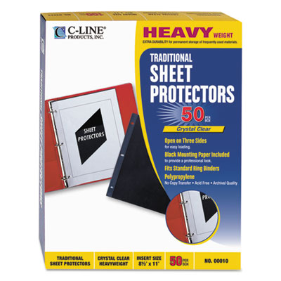 Traditional polypropylene sheet protector, heavyweight, 11 x 8 1/2, 50/bx, sold as 1 box, 50 each per box