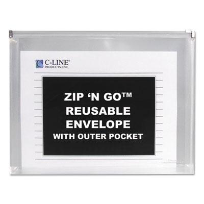 Zip ?n go reusable envelope w/outer pocket, 13 x 10, clear, 3/pack, sold as 1 package