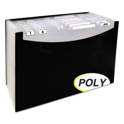 """21-pocket stand-up design expanding file, 12"""" exp, legal, 15 x 9 1/4, black, sold as 1 each"""