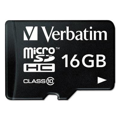 Microsdhc card w/adapter, class 10, 16gb, sold as 1 each