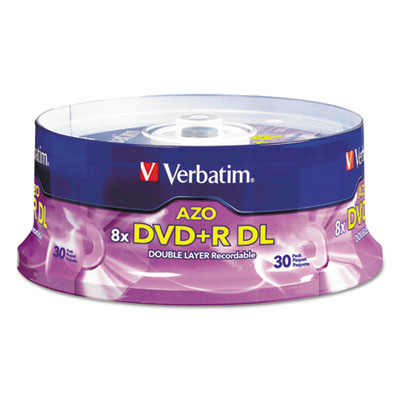 Dual-layer dvd+r discs, 8.5gb, 8x, spindle, 30/pk, silver, sold as 1 package
