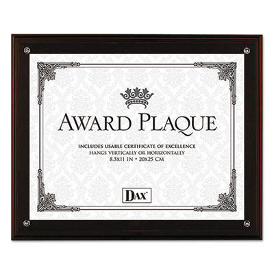 Award plaque with easel, 8 1/2 x 11, mahogany frame, sold as 1 each
