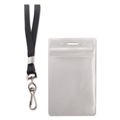 Resealable id badge holder, lanyard, vertical, 2 5/8 x 3 3/4, clear, 20/pack, sold as 1 package