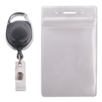Resealable id badge holder, cord reel, vertical, 2 5/8 x 3 3/4, clear, 10/pack, sold as 1 package