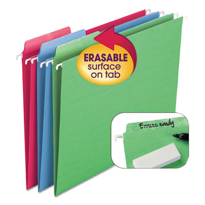 Erasable fastab hanging folders, 1/3-cut, letter, 11 point st, assorted, 18/box, sold as 1 box, 18 each per box