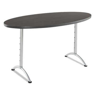 Arc sit-to-stand tables, oval top, 36w x 72d x 42h, gray walnut/silver, sold as 1 each