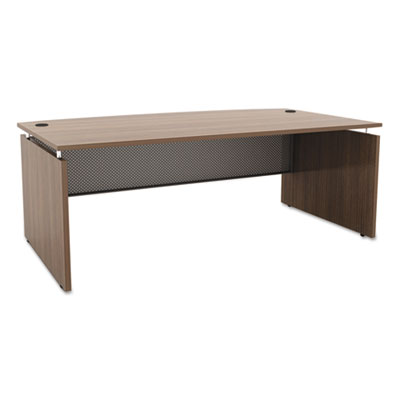 Sedina series bow front desk shell, 72w x 42d x 29 1/2h, walnut, sold as 1 each