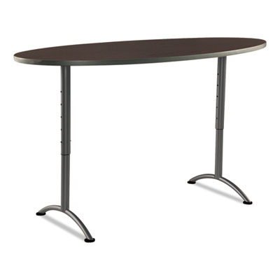 Arc sit-to-stand tables, oval top, 36w x 72d x 42h, walnut/gray, sold as 1 each