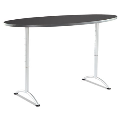 Arc sit-to-stand tables, oval top, 36w x 72d x 42h, graphite/silver, sold as 1 each