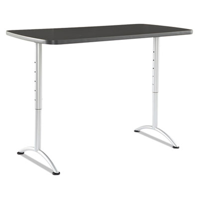 Arc sit-to-stand tables, rectangular top, 30w x 60d x 42h, graphite/silver, sold as 1 each