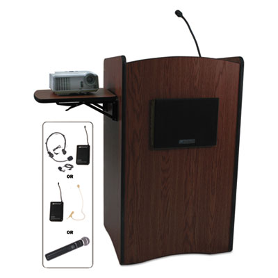 Multimedia smart computer wireless lectern, 25-1/2w x 20-1/4d x 43-1/2h,mahogany, sold as 1 each