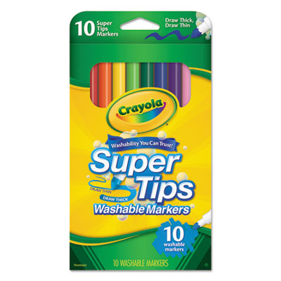 Washable supertips markers, assorted, 10/pack, sold as 1 set