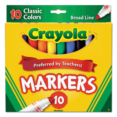 Non-washable markers, broad point, classic colors, 10/set, sold as 1 set