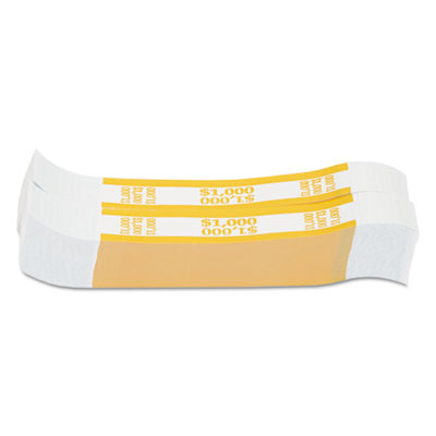 Currency straps, yellow, $1,000 in $10 bills, 1000 bands/pack, sold as 1 package