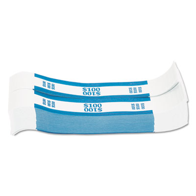 Currency straps, blue, $100 in dollar bills, 1000 bands/pack, sold as 1 package