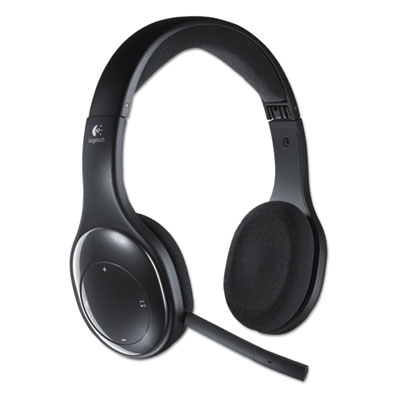 H800 binaural over-the-head wireless bluetooth headset, 4 ft range, black, sold as 1 each