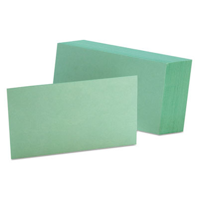 Unruled index cards, 3 x 5, green, 100/pack, sold as 1 package