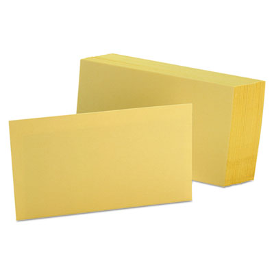 Unruled index cards, 3 x 5, canary, 100/pack, sold as 1 package