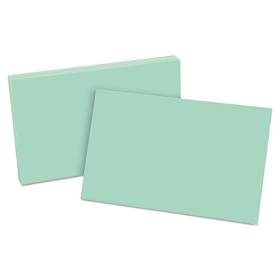 Unruled index cards, 5 x 8, green, 100/pack, sold as 1 package