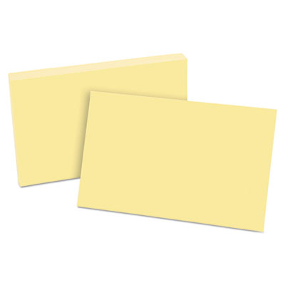 Unruled index cards, 5 x 8, canary, 100/pack, sold as 1 package