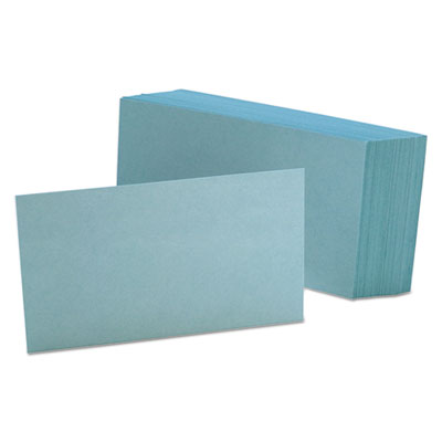 Unruled index cards, 3 x 5, blue, 100/pack, sold as 1 package