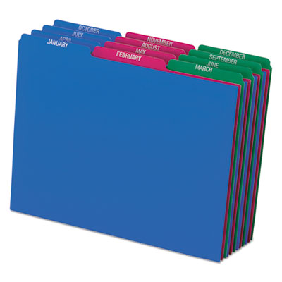 Top tab file guides, monthly/jan-dec, 1/3 tab, polypropylene, letter, 12/set, sold as 1 set