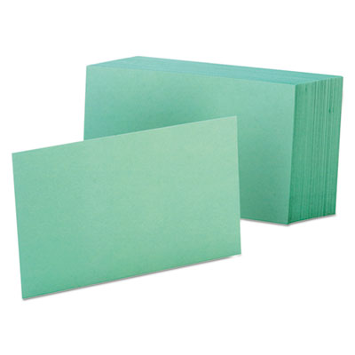 Unruled index cards, 4 x 6, green, 100/pack, sold as 1 package