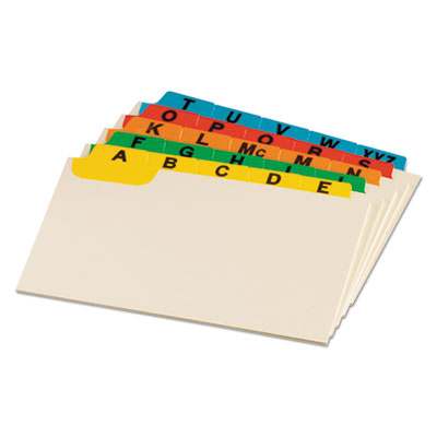 Laminated index card guides, alpha, 1/5 tab, manila, 3 x 5, 25/set, sold as 1 set