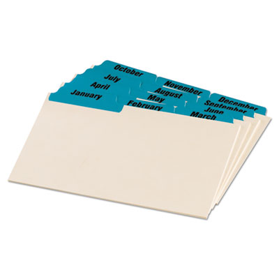 Laminated tab index card guides, monthly, 1/3 tab, manila, 4 x 6, 12/set, sold as 1 set