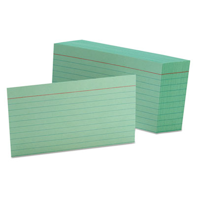 Ruled index cards, 3 x 5, green, 100/pack, sold as 1 package