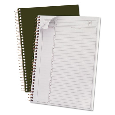 Gold fibre wirebound writing pad w/cover, 9-1/2 x 7-1/4, white, green cover, sold as 1 each