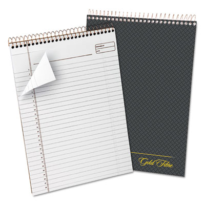 Gold fibre wirebound writing pad w/cover, 8 1/2 x 11 3/4, white, grey cover, sold as 1 each
