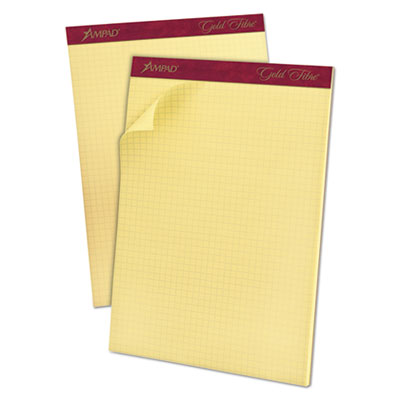 Gold fibre canary quadrille pad, 8 1/2 x 11 3/4, canary, 50 sheets, sold as 1 pad