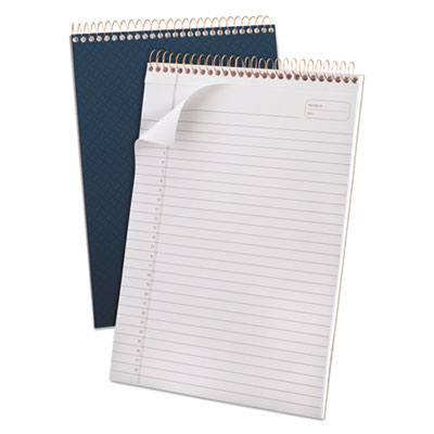 Gold fibre wirebound writing pad w/cover, 8 1/2 x 11 3/4, white, navy cover, sold as 1 each