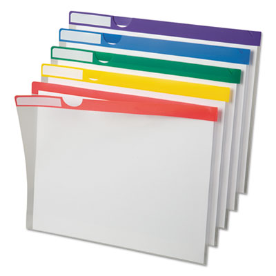 Clear poly index folders, letter, assorted colors, 10/pack, sold as 1 package