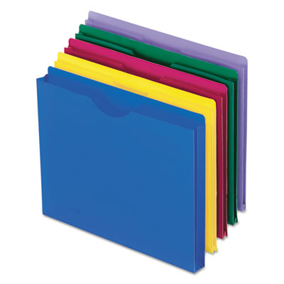 Expanding file jackets, letter, poly, blue/green/purple/red/yellow, 10/pack, sold as 1 package