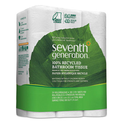 100% recycled bathroom tissue, 2-ply, white, 300 sheets/roll, 24/pack, sold as 1 package