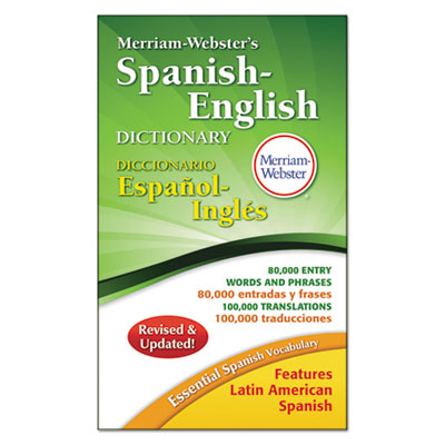Merriam-webster?s spanish/english dictionary, 864 pages, sold as 1 each