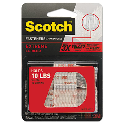 """Heavy duty fasteners, 1"""" x 1"""", clear, 6/pack, sold as 1 package"""
