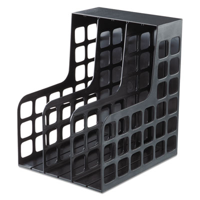 Decorack plastic magazine file, two snap-in dividers, 9 x 10 5/8 x 12, black, sold as 1 each