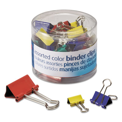 Binder clips, metal, assorted colors/sizes, 30/pack, sold as 1 package