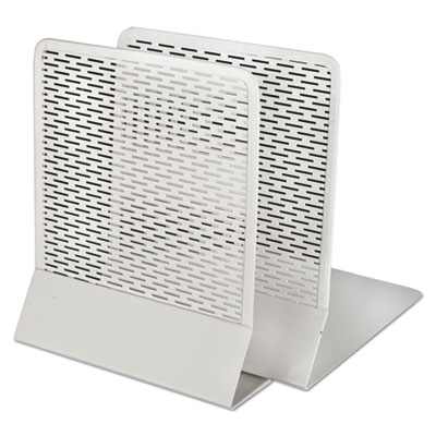 Urban collection punched metal bookends, 6 1/2 x 6 1/2 x 5 1/2, white, sold as 1 each