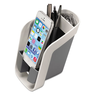 I-spire series pencil and phone station, 3 15/16 x 5 9/16 x 5 1/2, white/gray, sold as 1 each