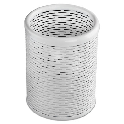 Urban collection punched metal pencil cup, 3 1/2 x 4 1/2, white, sold as 1 each