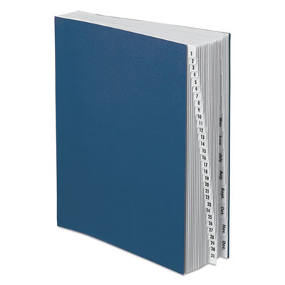 Expandable desk file, 1-31/jan-dec, letter size, pressboard, black/blue, sold as 1 each
