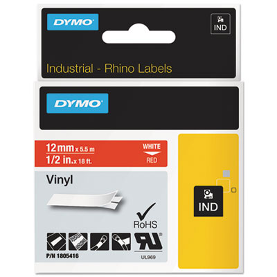 "Rhino permanent vinyl industrial label tape, 1/2"" x 18 ft, red/white print, sold as 1 roll"