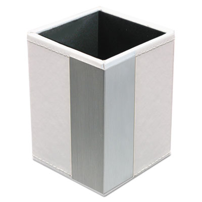 Architect line pencil cup, 3 x 3 x 4, white/silver, sold as 1 each