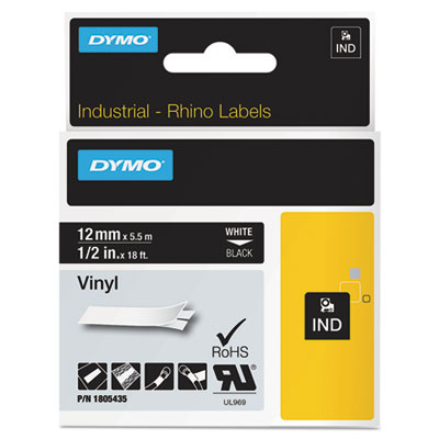 "Rhino permanent vinyl industrial label tape, 1/2"" x 18 ft, black/white print, sold as 1 roll"