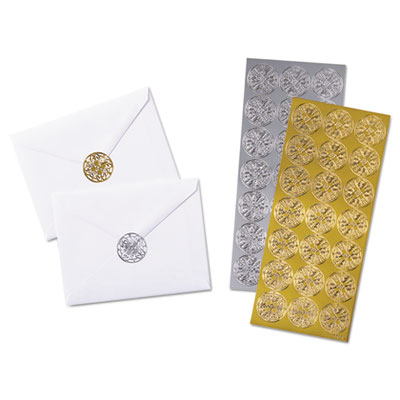 Decorative foil envelope seals, permanent, 1 1/4 x 1-1/4, assorted, 42/pack, sold as 1 package